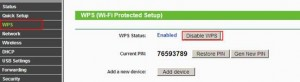 wps disabled TP-link